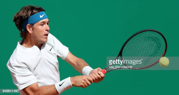 US Jared Donaldson returns the ball to Spain's Albert RamosVinolas during their round of 64 tennis match at the MonteCarlo ATP Masters Series...