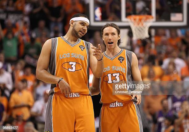 Jared Dudley and Steve Nash of the Phoenix Suns during Game Two of the Western Conference Semifinals of the 2010 NBA Playoffs against the San Antonio...
