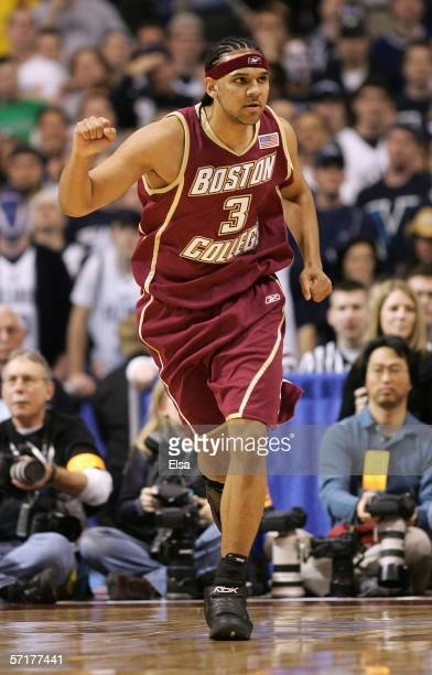 Jared Dudley of the Boston College Eagles celebrates as he runs back on defense against the Villanova Wildcats during their Minneapolis Regional...