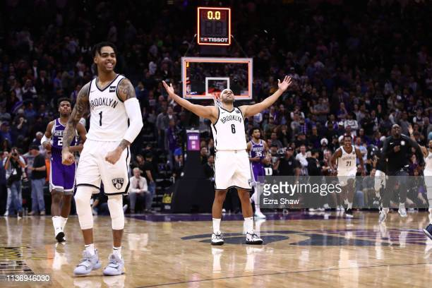 Jared Dudley of the Brooklyn Nets reacts after they came from behind to beat the Sacramento Kings at Golden 1 Center on March 19 2019 in Sacramento...