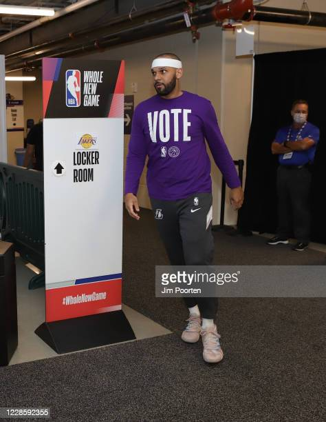 Jared Dudley of the Los Angeles Lakers heads to the court after halftime against the Denver Nuggets in Game one of the Western Conference Finals of...