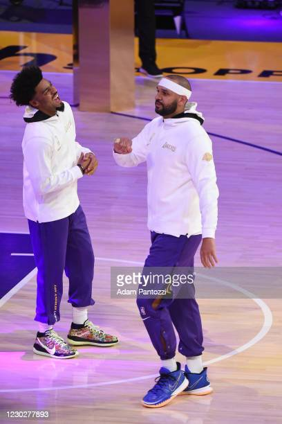 Jared Dudley of the Los Angeles Lakers reacts as he gets his 2019-20 NBA Championship ring during the ring ceremony before the game against the LA...