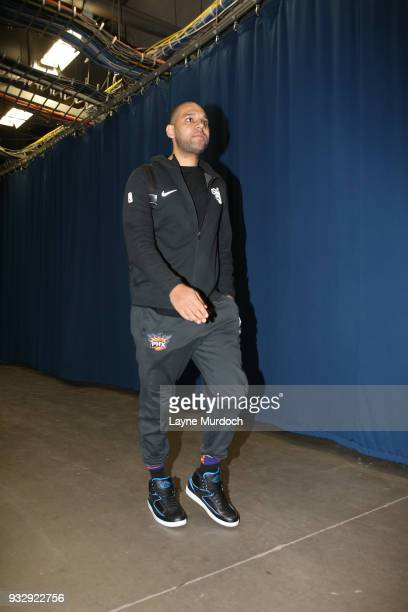 Jared Dudley of the Phoenix Suns arrives to the arena prior to the game against the Oklahoma City Thunder on March 8 2018 at Chesapeake Energy Arena...