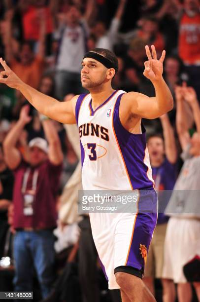 Jared Dudley of the Phoenix Suns celebrates a three point goal against the Los Angeles Clippers during the fourth quarter on April 19 2012 at US...