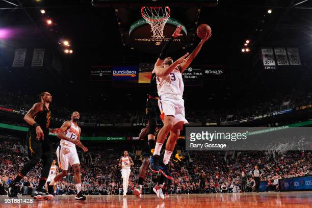 Jared Dudley of the Phoenix Suns handles the ball against the Cleveland Cavaliers on March 13 2018 at Talking Stick Resort Arena in Phoenix Arizona...