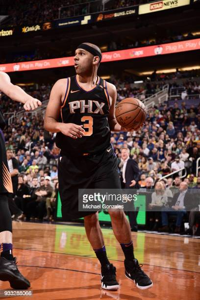 Jared Dudley of the Phoenix Suns handles the ball during the game against the Golden State Warriors on March 17 2018 at Talking Stick Resort Arena in...