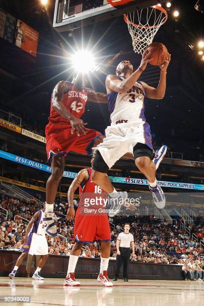 Jared Dudley of the Phoenix Suns puts up a shot against Elton Brand of the Philadelphia 76ers during the preseason game on October 16 2009 at US...