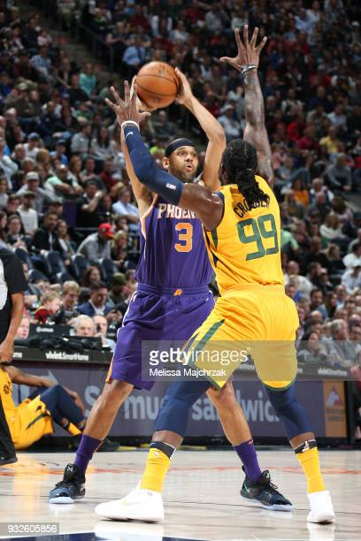 Jared Dudley of the Phoenix Suns shoots the ball against the Utah Jazz on March 15 2018 at vivintSmartHome Arena in Salt Lake City Utah NOTE TO USER...
