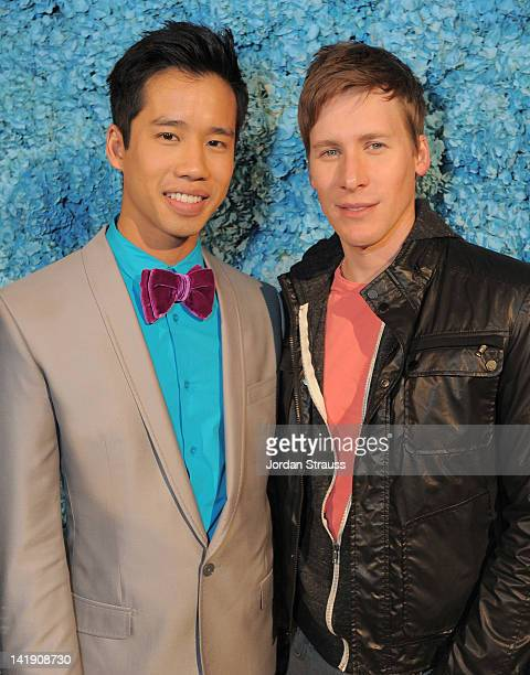 Jared Eng and Dustin Lance Black attend Just Jared's 30th at Pink Taco on March 23 2012 in Los Angeles California