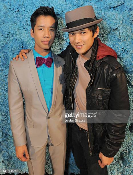Jared Eng and Harry Shum Jr attend Just Jared's 30th at Pink Taco on March 23 2012 in Los Angeles California