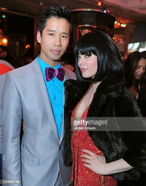 Jared Eng and Rose McGowan attend Just Jared's 30th at Pink Taco on March 23 2012 in Los Angeles California