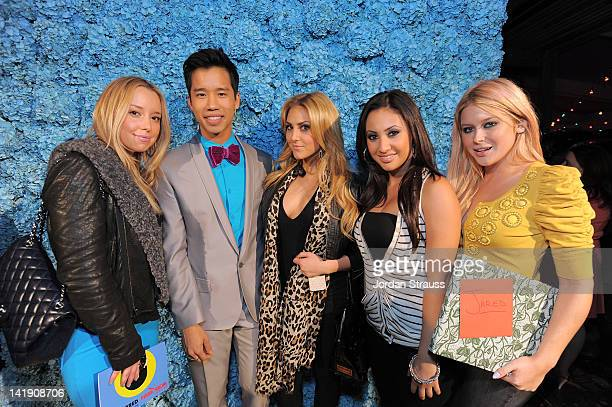 Jared Eng Cassie Scerbo Francia Raisa and Renee Olstead attend Just Jared's 30th at Pink Taco on March 23 2012 in Los Angeles California