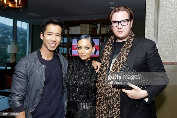 Jared Eng Nicole Richie and Justin Campbell attend VH1's Candidly Nicole influencer event in Los Angeles on July 14 2014 in West Hollywood California