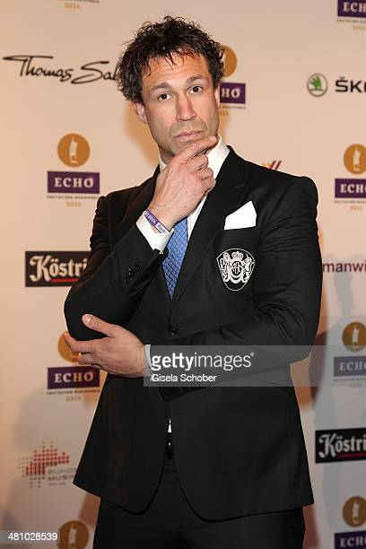 Jared 'Evil' Hasselhoff of the band Bloodhound Gang poses on the red carpet prior the Echo award 2014 at Messe Berlin on March 27 2014 in Berlin...