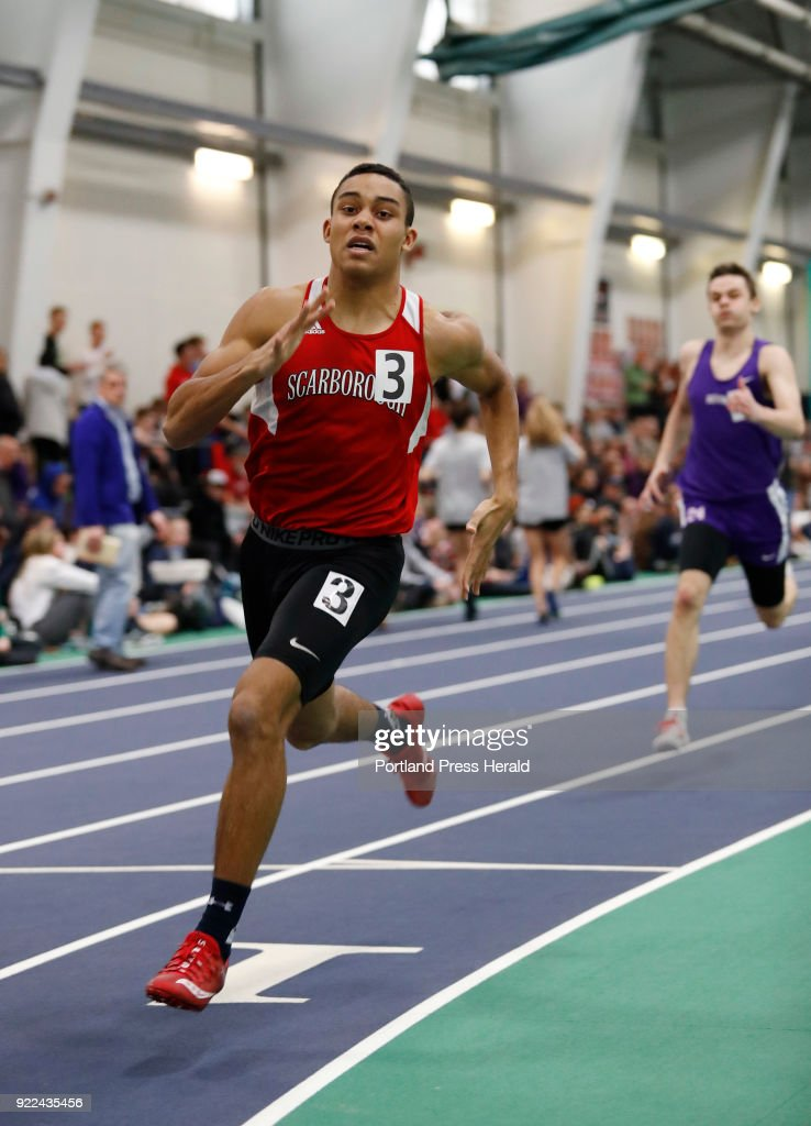 Jared Flaker, of Scarborough, runs in the 400 meter dash during the Maine Class A Track and Field Championship Monday, Feb. 19, 2018 in Gorham, Maine.