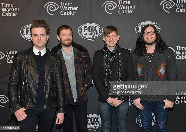 Jared Followill, Caleb Followill, Matthew Followill and Nathan Followill of Kings of Leon attend Time Warner Cable Studios Presents FOX Sports 1...