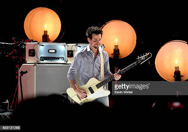 Jared Followill of Kings Of Leon performs on stage on ATT at iHeartRadio Theater LA on January 30 2017 in Burbank California
