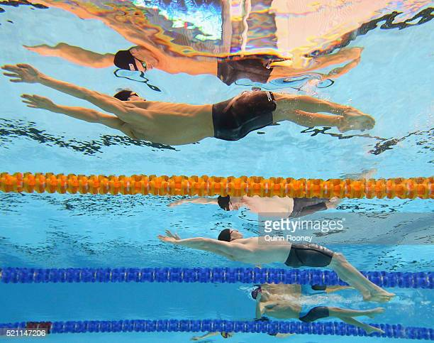 Jared Gilliland Matson Lawson and Mitch Larkin of Australia compete in the Men's 200 Metre Backstroke during day six of the 2016 Australian Swimming...