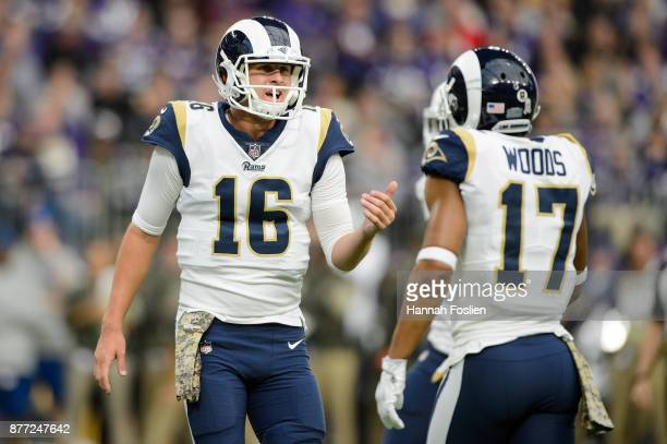 Jared Goff and Robert Woods of the Los Angeles Rams speak at the line of scrimmage against the Minnesota Vikings during the game on November 19 2017...