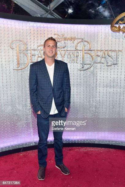 Jared Goff arrives at the world premiere of Disney's new liveaction 'Beauty and the Beast' photographed in front of the Swarovski crystal wall at the...
