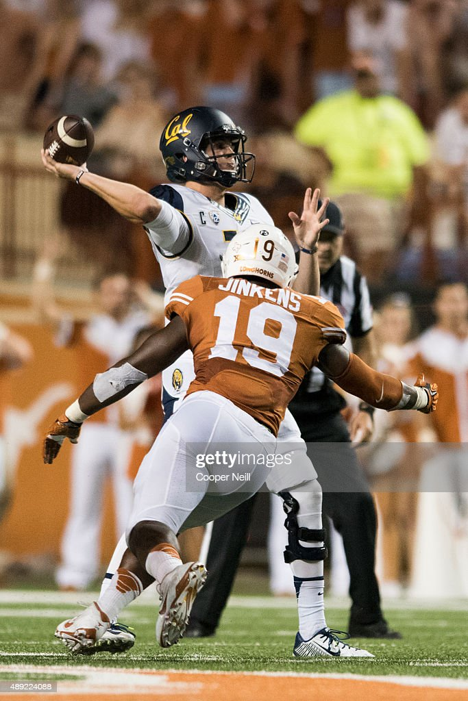 Jared Goff #16 of the California Golden Bears drops back to pass against the Texas Longhorns during the fourth quarter on September 19, 2015 at Darrell K Royal-Texas Memorial Stadium in Austin, Texas.