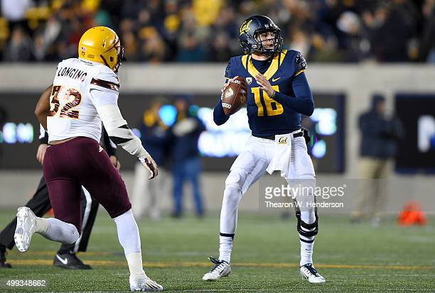 Jared Goff of the California Golden Bears drops back to pass against the Arizona State Sun Devils during the second half of their NCAA football game...