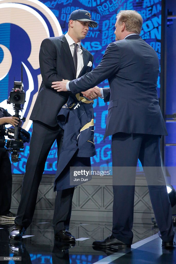 Jared Goff of the California Golden Bears shakes hands with NFL Commissioner Roger Goodell after being picked #1 overall by the Los Angeles Rams during the first round of the 2016 NFL Draft at the Auditorium Theatre of Roosevelt University on April 28, 2016 in Chicago, Illinois.