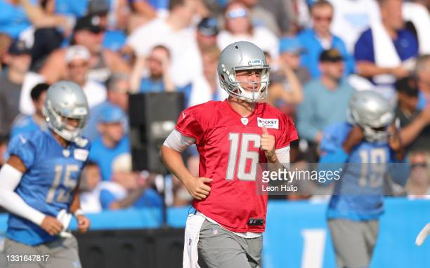 Jared Goff of the Detroit Lions looks across the field during Training Camp on July 31, 2021 in Allen Park, Michigan.