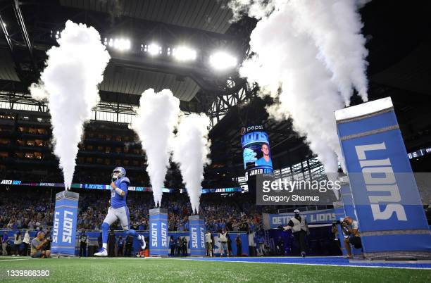 Jared Goff of the Detroit Lions takes the field prior to the game against the San Francisco 49ers at Ford Field on September 12, 2021 in Detroit,...