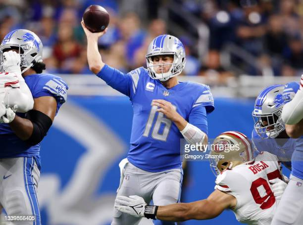Jared Goff of the Detroit Lions throws a pass against the San Francisco 49ers during the first quarter at Ford Field on September 12, 2021 in...