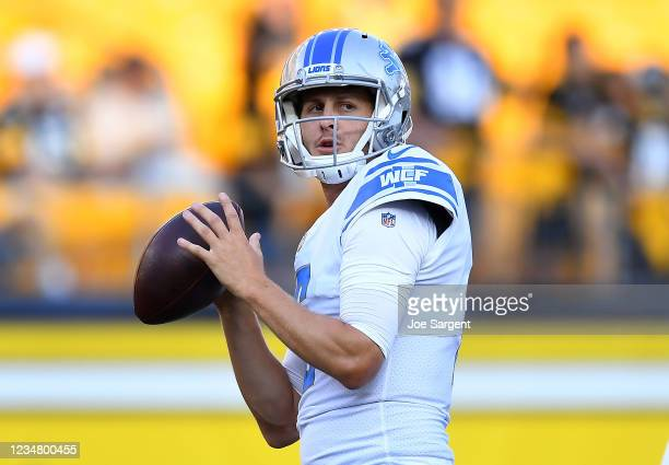 Jared Goff of the Detroit Lions warms up prior to the game against the Pittsburgh Steelers at Heinz Field on August 21, 2021 in Pittsburgh,...