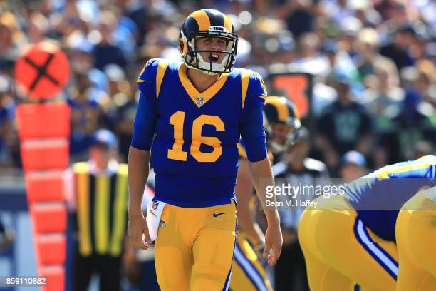 Jared Goff of the Los Angeles Rams communicates to his teammates during the game against the Seattle Seahawks at the Los Angeles Memorial Coliseum on...