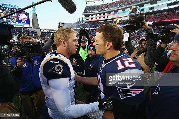 Jared Goff of the Los Angeles Rams greets Tom Brady of the New England Patriots after the New England Patriots defeated the Los Angeles Rams 2610 at...
