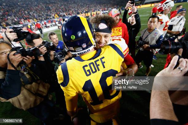Jared Goff of the Los Angeles Rams hugs Patrick Mahomes of the Kansas City Chiefs after a game at Los Angeles Memorial Coliseum on November 19 2018...