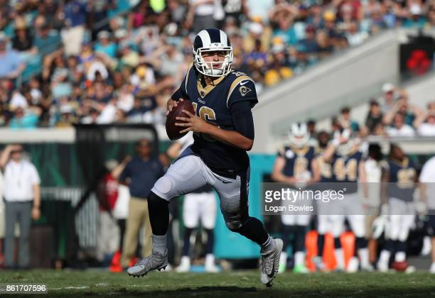 Jared Goff of the Los Angeles Rams looks to pass in the first half of their game against the Jacksonville Jaguars at EverBank Field on October 15,...