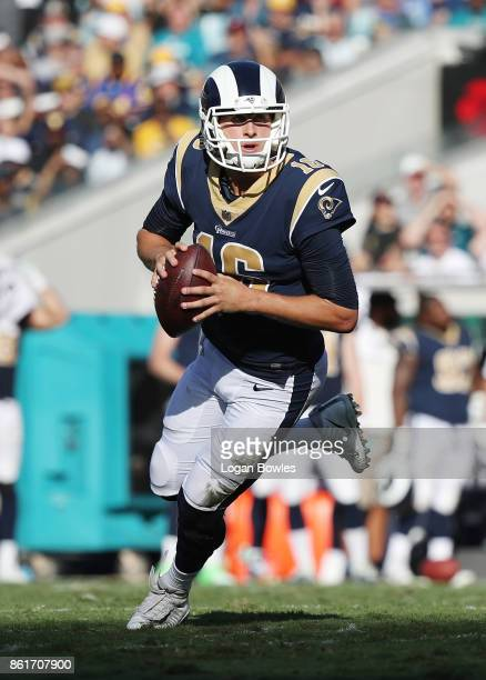 Jared Goff of the Los Angeles Rams looks to pass in the first half of their game against the Jacksonville Jaguars at EverBank Field on October 15...