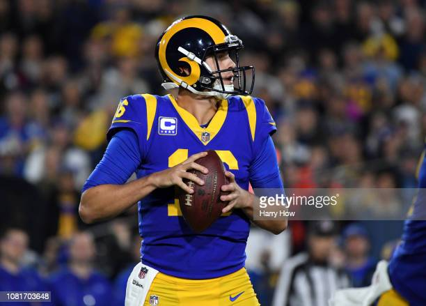 Jared Goff of the Los Angeles Rams looks to pass in the first half against the Dallas Cowboys in the NFC Divisional Playoff game at Los Angeles...