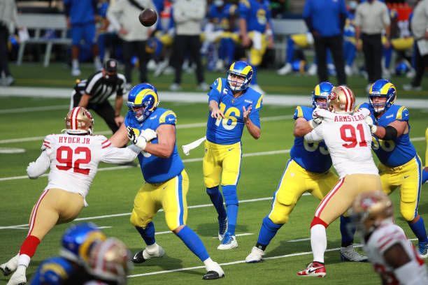 Jared Goff of the Los Angeles Rams makes a pass in the first quarter against the San Francisco 49ers at SoFi Stadium on November 29, 2020 in...