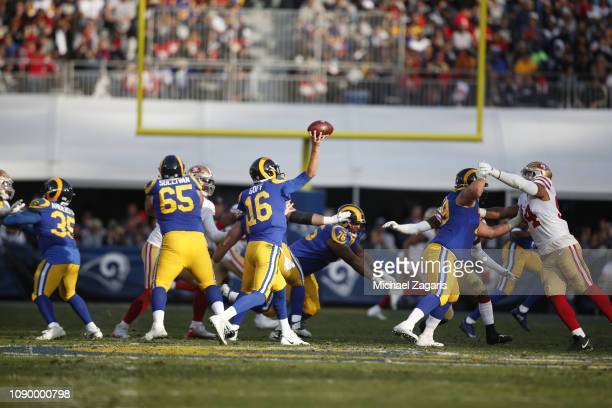 Jared Goff of the Los Angeles Rams passes during the game against the San Francisco 49ers at the LA Memorial Coliseum on December 30 2018 in Los...