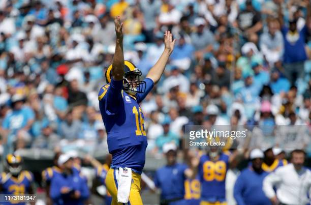 Jared Goff of the Los Angeles Rams reacts after his team scores a touchdown during their game against the Carolina Panthers at Bank of America...