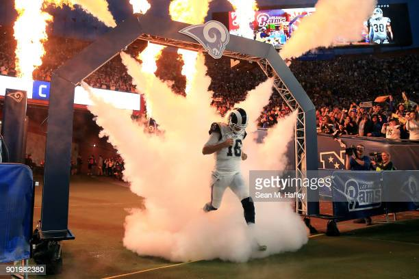 Jared Goff of the Los Angeles Rams runs onto the field prior to the NFC Wild Card Playoff Game against the Atlanta Falcons at the Los Angeles...