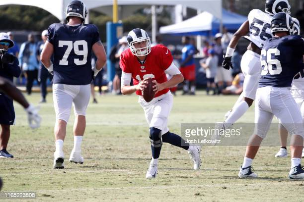 Jared Goff of the Los Angeles Rams scrambles out of the pocket during training camp on July 30 2019 in Irvine California