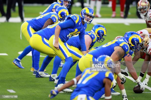 Jared Goff of the Los Angeles Rams stands under center during the second half against the San Francisco 49ers at SoFi Stadium on November 29, 2020 in...