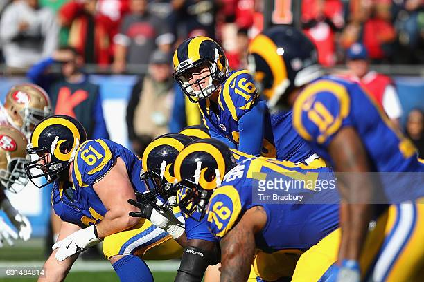 Jared Goff of the Los Angeles Rams stands under center during the game against the San Francisco 49ers at Los Angeles Memorial Coliseum on December...