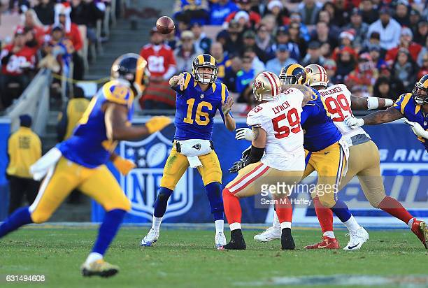 Jared Goff of the Los Angeles Rams throws a pass during the game against the San Francisco 49ers at Los Angeles Memorial Coliseum on December 24 2016...