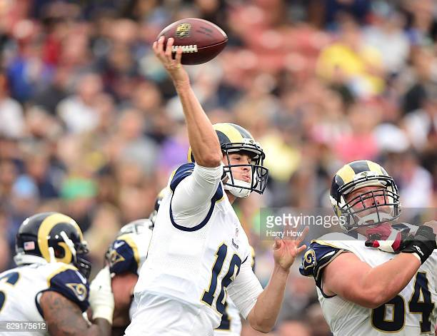 Jared Goff of the Los Angeles Rams throws an interception to Deion Jones of the Atlanta Falcons to trail 210 during the second quarter at Los Angeles...
