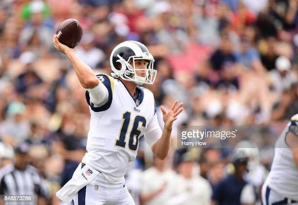 Jared Goff of the Los Angeles Rams throws the ball during the first quarter against the Washington Redskins at Los Angeles Memorial Coliseum on...
