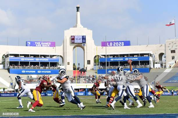 Jared Goff of the Los Angeles Rams throws the ball during the third quarter against the Washington Redskins at Los Angeles Memorial Coliseum on...