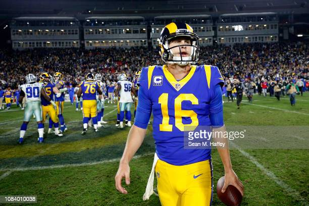 Jared Goff of the Los Angeles Rams walks off the field after the NFC Divisional Playoff game against the Dallas Cowboys at Los Angeles Memorial...