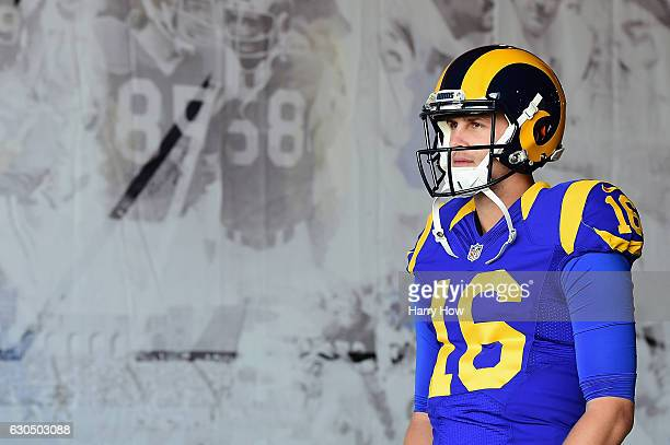 Jared Goff of the Los Angeles Rams walks to the field before the game against the San Francisco 49ers at Los Angeles Memorial Coliseum on December...